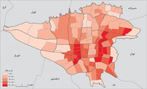 نقشه تراکم جمعیتی تهران