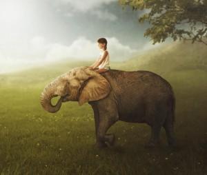 دختر و فیل